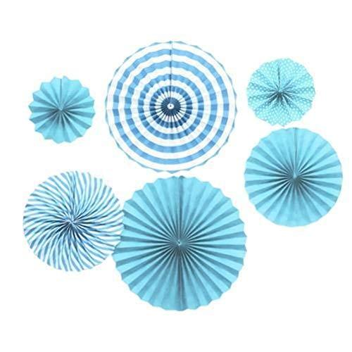 AdorabFruit 6 abanicos de papel plegables redondos decorativos para manualidades, decoración de ventana de cristal, decoración de pared, boda, cumpleaños, fiesta, niñas (color azul)