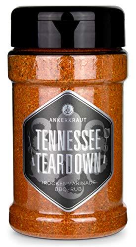 Ankerkraut Tennessee Teardown, BBQ Rub Gewürzmischung zum Grillen, Memphis Style, 200g im Streuer