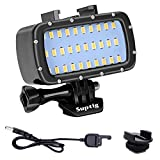 Suptig 30 LED Video Light Waterproof Light Underwater Light Compatible for Gopro Hero 9 Hero 8 Hero 7 Hero 5 Hero 6 Hero 4 and Canon Nikon Sony Olympus SLR Cameras Waterproof 180ft(55m)
