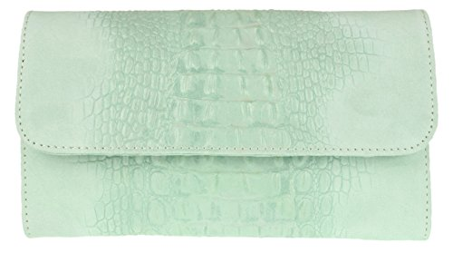 Girly Handbags Croc Suede Clutch-Bag aus italienischem Leder - MintMinze
