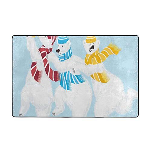 Gggo Alfombra de baño,Tiempo de Navidad en el Polo Norte Tema Tres Personajes Divertidos Bufandas Trompeta,Alfombra de baño Antideslizante Alfombra