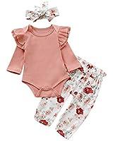 3PCS Clothes Set Newborn Toddler Baby Girl Romper Bodysuit Jumpsuit Floral Halen Pants Outfit Clothes (9-12 Months, Knitting Top+Floral Pants)