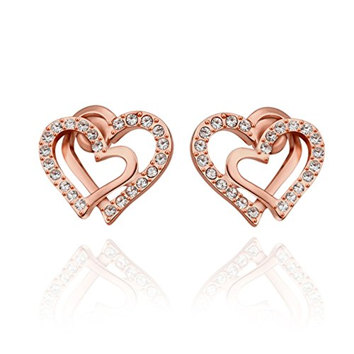FJYOURIA Women's 18k White/Gold Plated Double Love Heart Shaped For Promise Gift Earring Stud For Lover with Sparkling Diamond Cubic Zirconia Elements (18ct Rose Gold)
