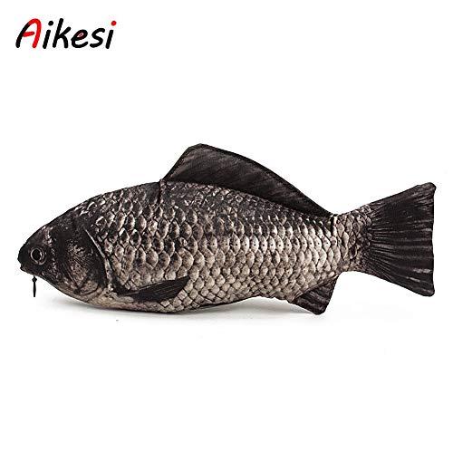 Aikesi Federmäppchen für Damen und Herren, einfaches klassisches Etui in Fisch-Form, Modell für die Aufbewahrung, große Kapazität, aus Kunstleder, Tasche für Schreibutensilien