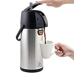 powerful TOMAKEIT Air Pot Coffee Carafe Thermal 3L (102 oz) Stainless Steel Insulated Large Drink…