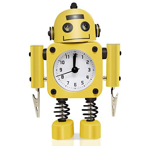 MxZas [No marcando la Alarma del Reloj del Robot Inoxidable Metal - Despertador Reloj con Las Luces Que Destellan del Ojo y la Mano del Clip (Ruby Red) Jzx-n (Color : Yellow)