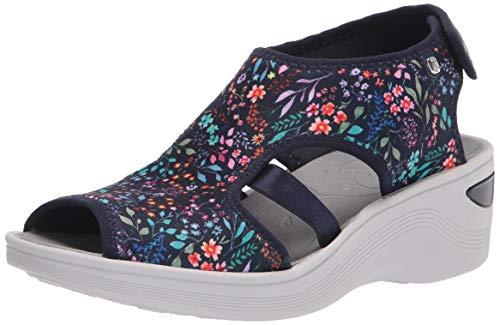 Bzees Womens Dream Sandal Floral,Navy 9 W