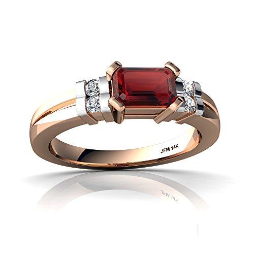 14kt Rose Gold Garnet and Diamond 6x4mm Emerald_Cut Art Deco Ring - Size 9