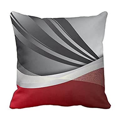 Emvency Throw Pillow Cover Black in Modern Abstract Red Decorative Pillow Case Home Decor Square 16 x 16 Inch Pillowcase