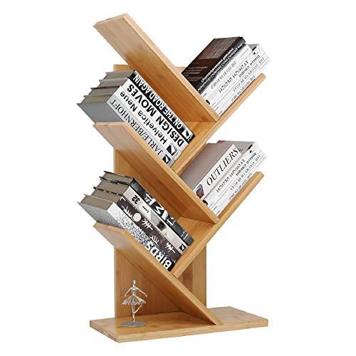 JIIKOOAI Tree Bookshelf Book Rack Display Storage Bookcase Magazine Rack Multi-Tier Floor Free Standing Wood Bookshelf 4 Tier Decor Bookshelf for Living Room, Home Office