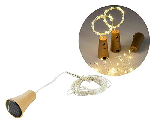 Solar Powered Wine Bottle Cork Festival Outdoor Light Garland Lights Outdoor Fairy Light 1M/2M Shaped LED Copper Wire String - WW,1m 10 LED