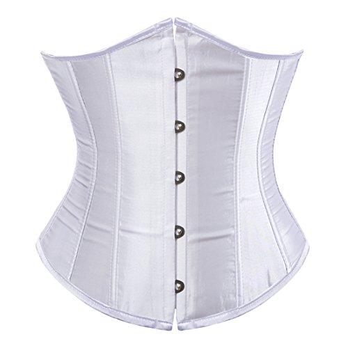 Zhitunemi Women's Satin Underbust Corset Bustier Waist Training Cincher Plus Size 5X-Large White