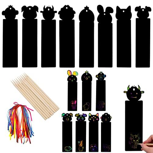 BLLREMIPSUR 40pcs Tier Scratch Lesezeichen Papierkratzer, Regenbogen Lesezeichen DIY Basteln, Zeichnen Sie auf kreative Weise schöne Regenbogenmuster