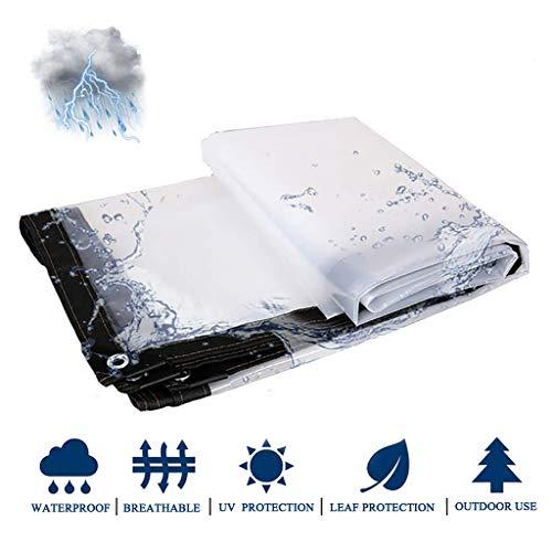LWXTY transparant dekzeil, dikker zwaar waterdicht met metalen ogen plastic doek scheurvast, stofdicht hydraterend gemakkelijk op te vouwen, voor balkon kas