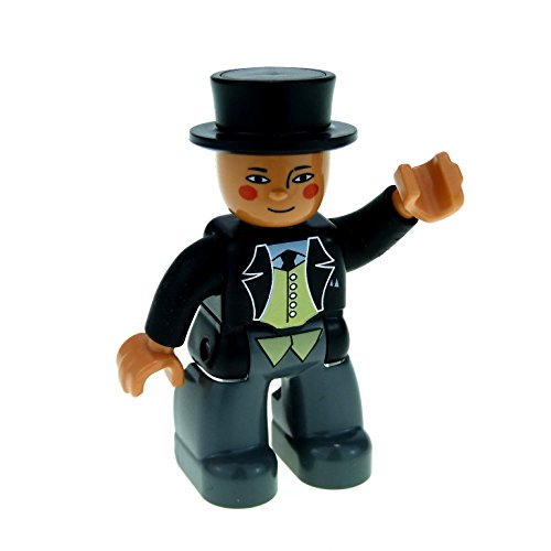 1 x Lego Duplo Figur Mann Sir Topham Hatt schwarz grau mit Hut Zylinder Eisenbahn Thomas und seine Freunde und der dicke Kontrolleur 47394pb096