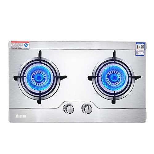 Cocina de gas empotrada, cocina de gas butano / propano compacta, placa de cocina de 2 quemadores, para calentar, cocinar, hervir, freír, hervir a fuego lento [Clase energética A] (Color: A, Tamaño: G