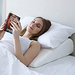 Bed Wedge Pillow | 2 Cover Included | Unique Design for Multi Position Use | Memory Foam Incline Pillow for Sleeping | Reliefs Acid Reflux, Gerd, Heartburn Back,Leg Pain (Small)