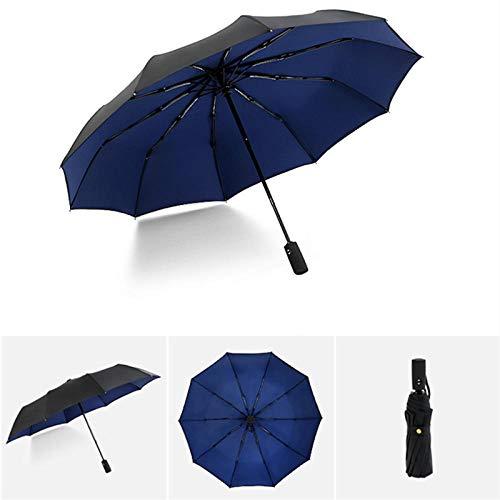 Parasol Parapluie Dix Os Automatique 210 T Parapluie Pliant Femelle Mâle Voiture De Grand Parapluie Coupe-Vent Qualité Parasol Hommes Pluie Noir Peinture Bleu Foncé