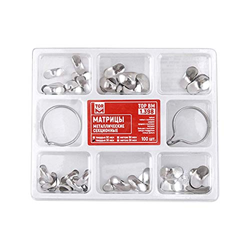 100Pcs Dental Sectional Contoured Matrices Matrix Bands 35 μm with 2 Rings Orthodontic Supplies
