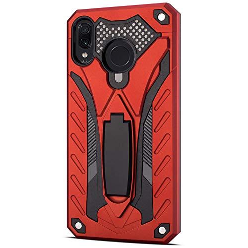 """Grandcaser Capa para Redmi Note 7 ultra fina camada dupla 2 em 1 policarbonato rígido macio TPU à prova de choque à prova de quedas com suporte capa protetora para Xiaomi Redmi Note 7/7 Pro 6,3"""" - Vermelho"""