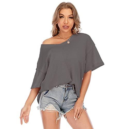 fanshion goup Camiseta informal de punto con cuello en V y manga corta, para mujer, para entrenamiento, yoga, túnica