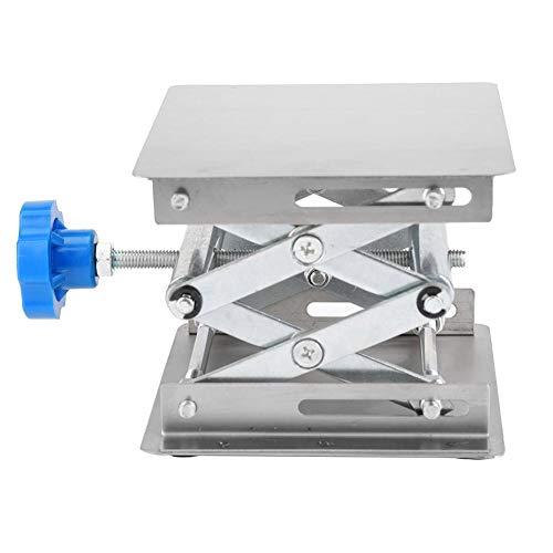 Hebeplattform, Edelstahl Labor Hebeplattform Stand Scheren Gestell mit justierbarer Höhe, rostfrei/rostfest/langlebig(Blauer Griff)