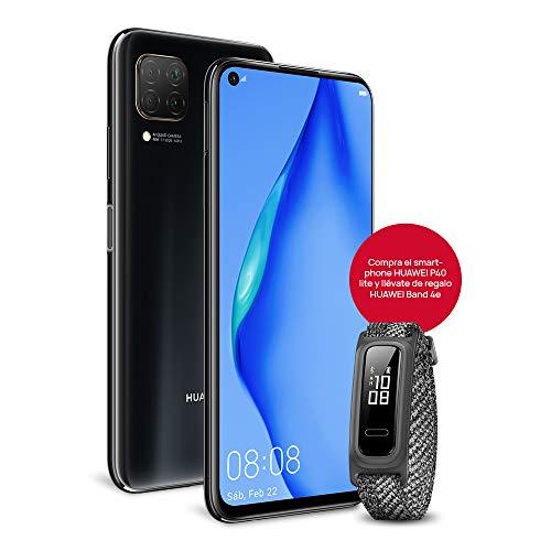 """HUAWEI P40 Lite - Smartphone con Pantalla de 6.4"""" FullView (Kirin 810, 6 GB de RAM,128 GB de ROM, 48MP, Cuádruple cámara, Carga Rápida de 40W, Batería de 4200mAh) Negro + Band 4e, Gris"""