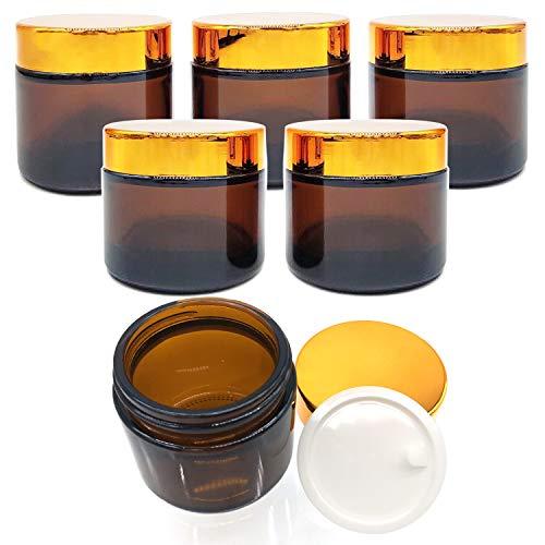 6 Pieza 60ml Tarros de Cristal de Ámbar, Rellenables Botella de Pot Recipiente Fácil de Limpiar