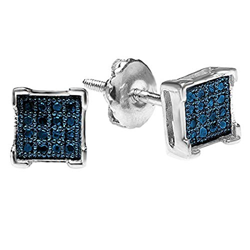 Dazzlingrock Collection 0.05 Carat (ctw) Round Blue Diamond V Prong Men's Iced Stud Earrings, Sterling Silver