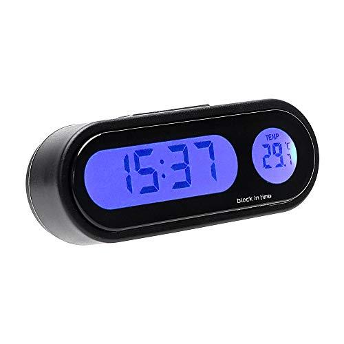 SSHELL Decoración del coche Termómetro 2 en 1 Accesorios para interiores Adornos para automóviles Decoración de Luz Azul Reloj Digital Estilo del Coche (Color: Negro)