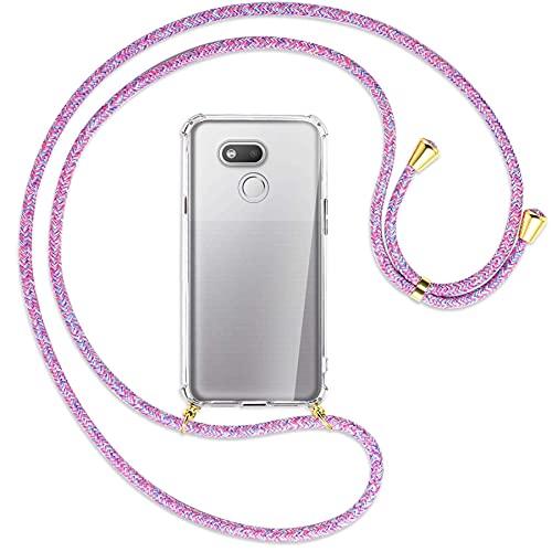 mtb more energy® Handykette kompatibel mit HTC Desire 12s (5.7'') - Purple Unicorn/Gold - Smartphone Hülle zum Umhängen - Anti Shock Full TPU Hülle