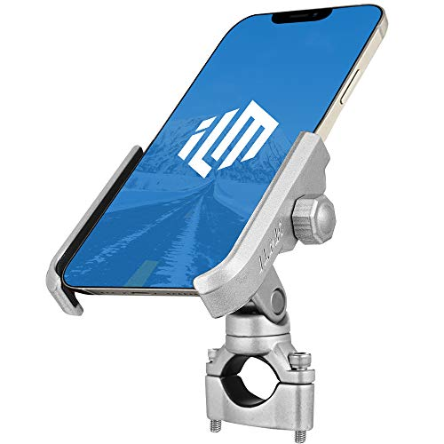 ILM Upgraded Bike Motorcycle Phone Mount Aluminum Bicycle Cell Phone Holder Accessories Fits iPhone X Xs 7 7 Plus 8 8 Plus iPhone 6s 6s Plus Galaxy S7 S6 S5 Holds Phones up to 3.7' Wide (Silver)
