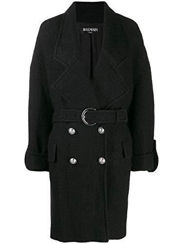 Balmain Luxury Fashion Damen SF08594W0390PA Schwarz Wolle Mantel | Frühling Sommer 20