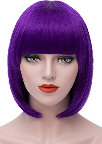 Mersi Short Purple Wigs for Women, 12'' Cute Straight Bob Hair Wig with Bangs, Soft Natural Synthetic Full Wigs for Mardi Gras Daily Party Cosplay Halloween S004PR
