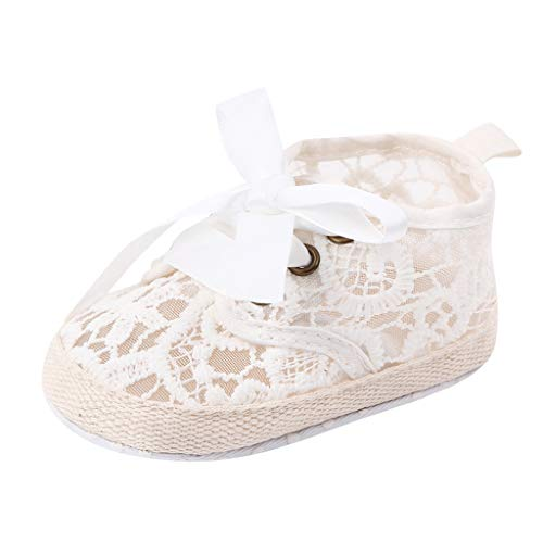 FNKDOR Schuhe Baby Lauflernschuhe Mädchen Weiß 0-3 Monate Spitze Bow Babyschuhe Atmungsaktiv Weich rutschfest