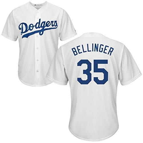 HYQ Baseball-Trikots Dodgers Jersey, 35 T-Shirt, Uniform Training, zweireihiges Kurzarm-T-Shirt, Sport Top,Fans White 35,3XL/56