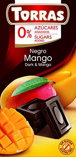 Torras Schokolade ohne Zucker, Schokolade ohne Zuckerzusatz, Dark Chocolate mit Mango, Tafel (75g)
