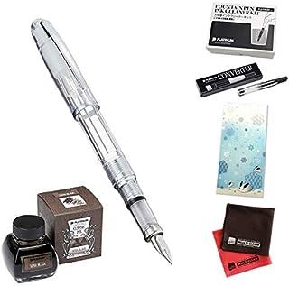 [セット品]プラチナ万年筆 万年筆6点セット(PGB-3000A バランス #5:シャインクリスタル 細字)、ボトルインク(クラシックインク INKK-2000#66 セピアブラック)、コンバーター、クリーナーキット、一筆箋、クロス