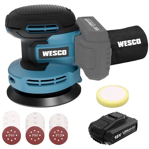 Akku Exzenterschleifer, WESCO 18V 2.0Ah Akku Schleifer Schleifmaschine Ø 125mm mit Staubfangbehälter, Akku, Ladegeräte, 6 Leistungsstufe von 3000 bis zu 11000/min, 12PCS Schleifpapier, Polierschwamm