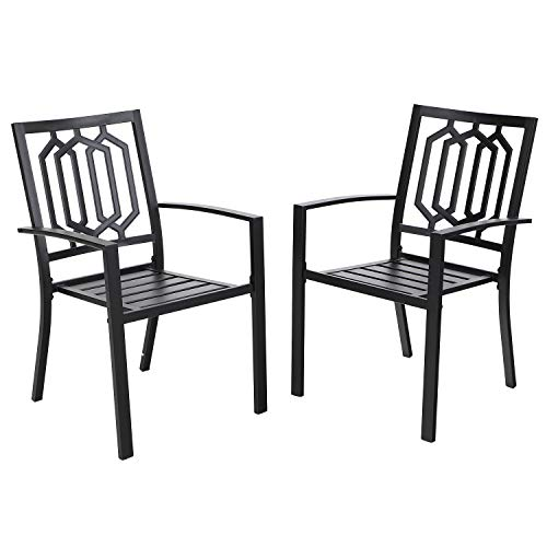 MFSTUDIO Outdoor Chairs Set of 2, Iron Metal Dining 300 LBS Weight Capacity Patio Bistro Chairs with Armrest,Black