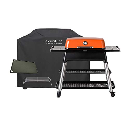 Everdure Furnace by Heston Blumenthal 3-Burner Liquid Portable Propane Gas Grill, Cover and Accessory Bundle: Die-Cast Aluminum Body, Orange