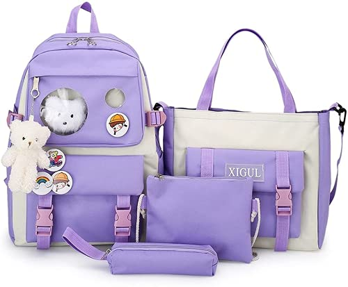 4 unidades mochila escolar bolsa de libro conjunto Kawaii oso de peluche colgante lona combo chica Tote adolescente Crossbody Kid caja de almuerzo, Púrpura/Ombre Force., Large