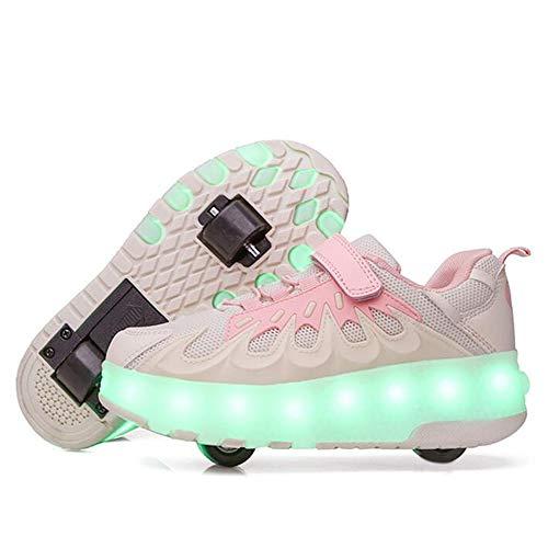 WANGT Blinkender Skate,Räder Skateboardschuhe,LED-Licht Blinkt USB Wiederaufladbar Automatisch versenkbar Heelys Sport im Freien Gymnastik Unisex Sportschuhe Kinder Junge Mädchen,Rosa,37