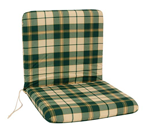 DEGAMO Auflage Sesselauflage Boston für Gartenstuhl Niederlehner, grün - beige kariert