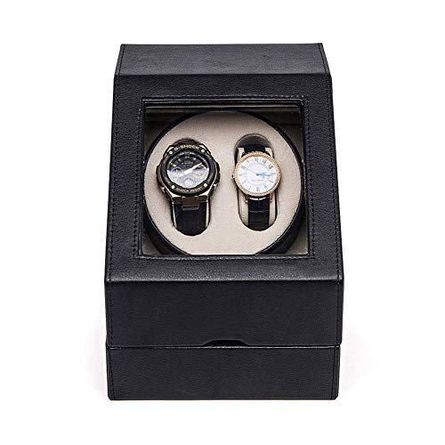 N\C Cajas giratorias para Relojes, Caja enrolladora automática de Reloj, 3 giros del Programa, Motor silencioso, Madera, Negro y Rojo (Color: A) LKWK