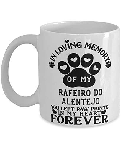N\A Taza para Perro Rafeiro Do Alentejo Pet Memorial You Left Pawprints in My Heart Taza de café