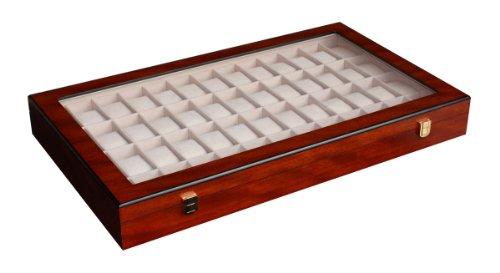 Woolux Edle Uhrenbox Holz für 52 Uhren Kirsche Uhrenvitrine Uhrenschatulle