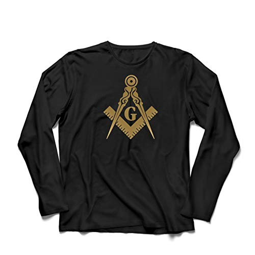 Camiseta de Manga Larga para Hombre Albañiles (masones) - Accesorios para Hombres con los símbolos escuadra y el compás Masónico (Large Negro Oro)