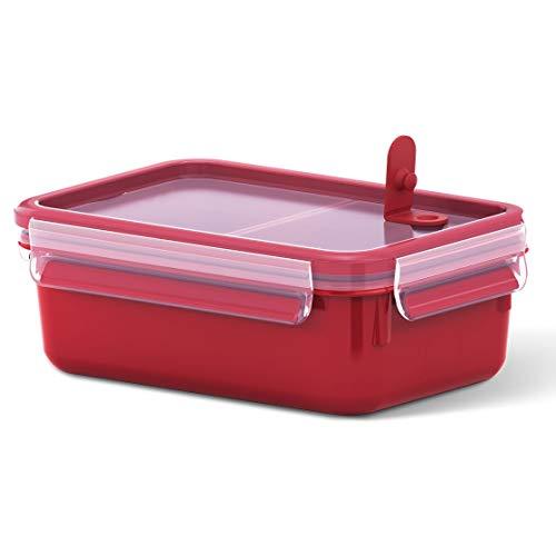 Emsa Mikrowellendose Clip & Micro 517774 | Mit 2 Einsätzen | Mikrowellenventil | 1,0 L | Lunchbox | Integrierte Maßeinteilung | Made In Germany | Rot/ Transparent