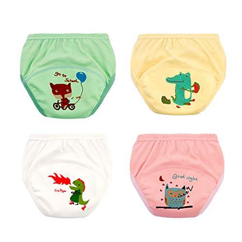 Vobony 4 Pack Trainingshose Kleinkinder Training Töpfchen Trainerhosen Baumwolle Wiederverwendbare Windeltraining Unterwäsche Toilettentraining Kinder Baby Mädchen Junge Windelhose (6-13kg)